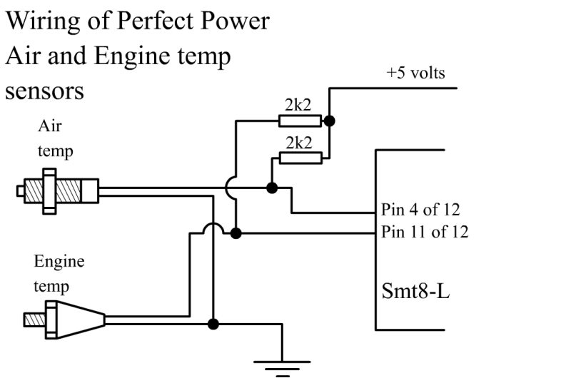 SMT8-L Piggy-Back Unit - Wiring of Perfect Power Air and Engine Temperature Sensors