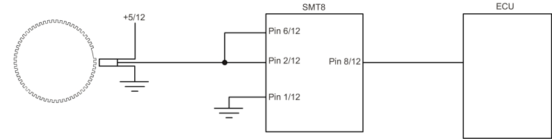 SMT8 Piggy-Back Unit - Wiring for normal operation up to 6000 RPM